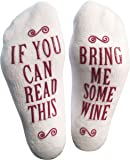 "Luxury Combed Cotton ""Bring Me Some Wine"" Novelty Socks - Perfect Hostess or Housewarming Gift Idea for Women, Cute Present for Wine Lover or Wife - By Haute Soiree"