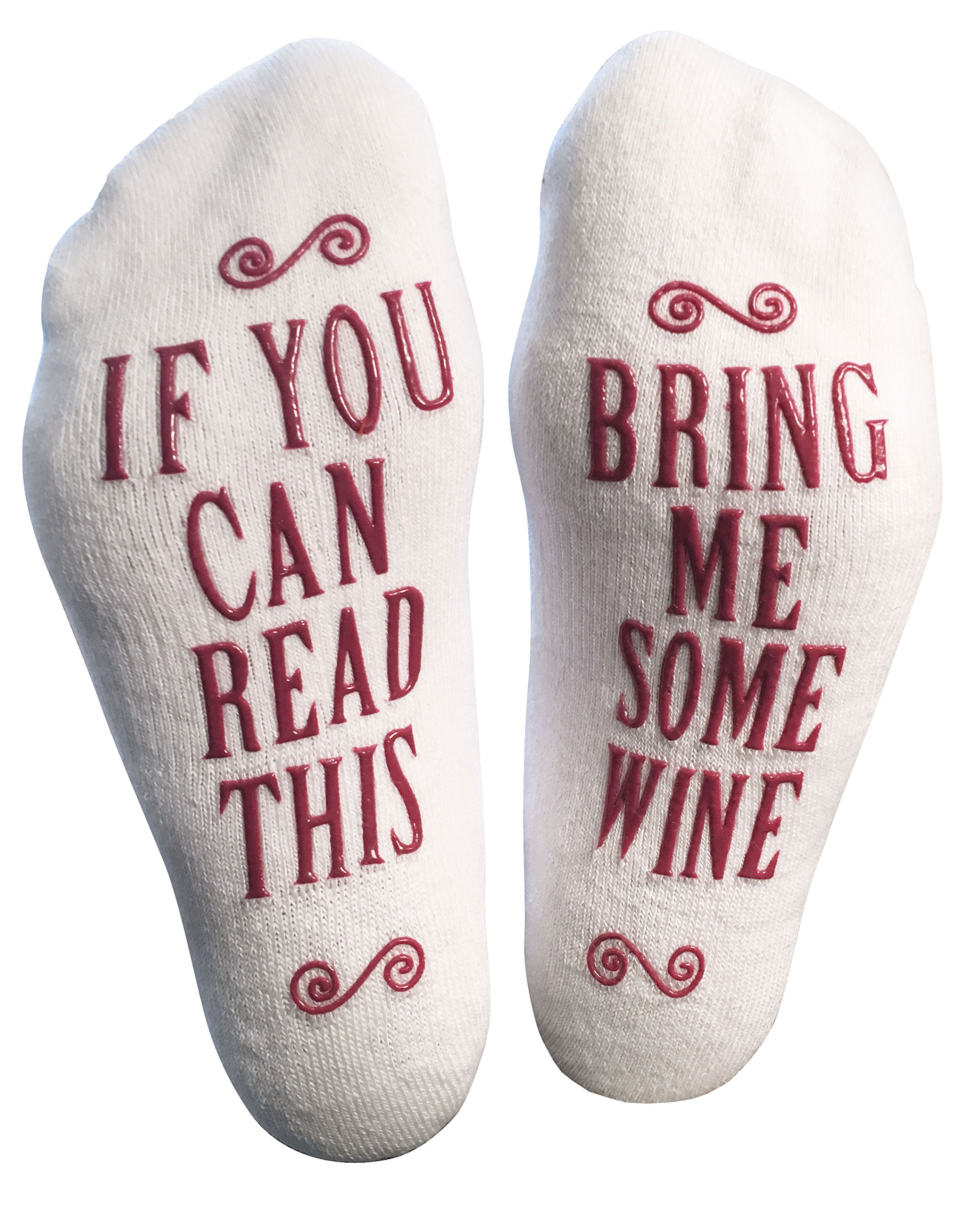 "Luxury Combed Cotton ""Bring Me Some Wine"" Novelty Socks - Perfect Hostess or Housewarming Gift Idea for Women, Valentine's Day Gift Idea for a Wine Lover - By Haute Soiree"