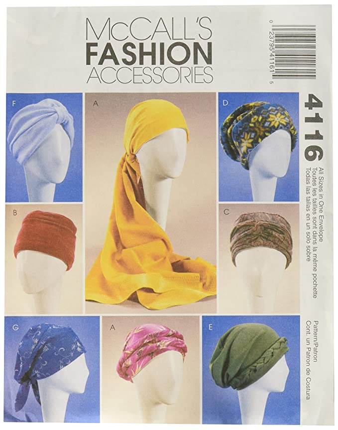 1940s Sewing Patterns – Dresses, Overalls, Lingerie etc McCalls Patterns M4116 Misses Turban Headwrap and Caps $6.75 AT vintagedancer.com