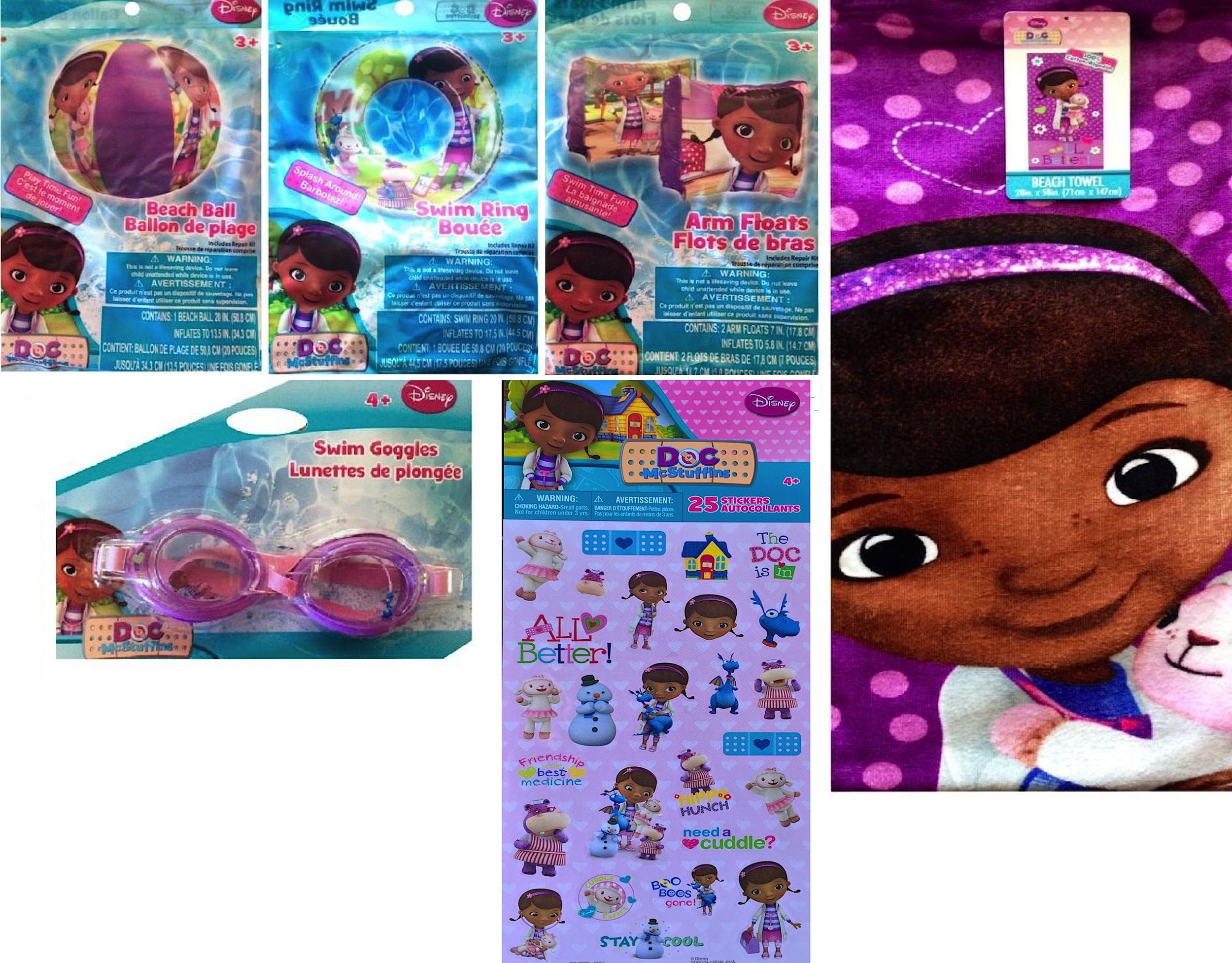 Disney Doc McStuffins 3 Swim Toys , Beach Towel, Goggles, with Reward Stickers Included by disney