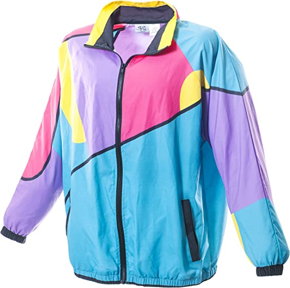 Tenson 80s Vintage Windbreaker SKI mountain Jacket coat Purple neon orange FRANCE rain Jacket 90s Size men L