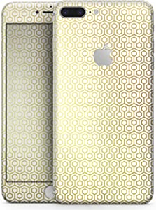 """The Golden Honeycomb Pattern - Design Skinz Premium Full-Body Decal Skin-Kit for The Apple 5.5"""" iPhone 8 Plus + / Soft-Touch Matte Finish"""