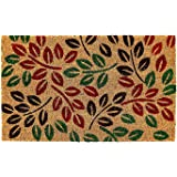 Onlymat Natural Coir PVC Doormat (75 x 45 x 1.5cm, Brown, Red and Green)