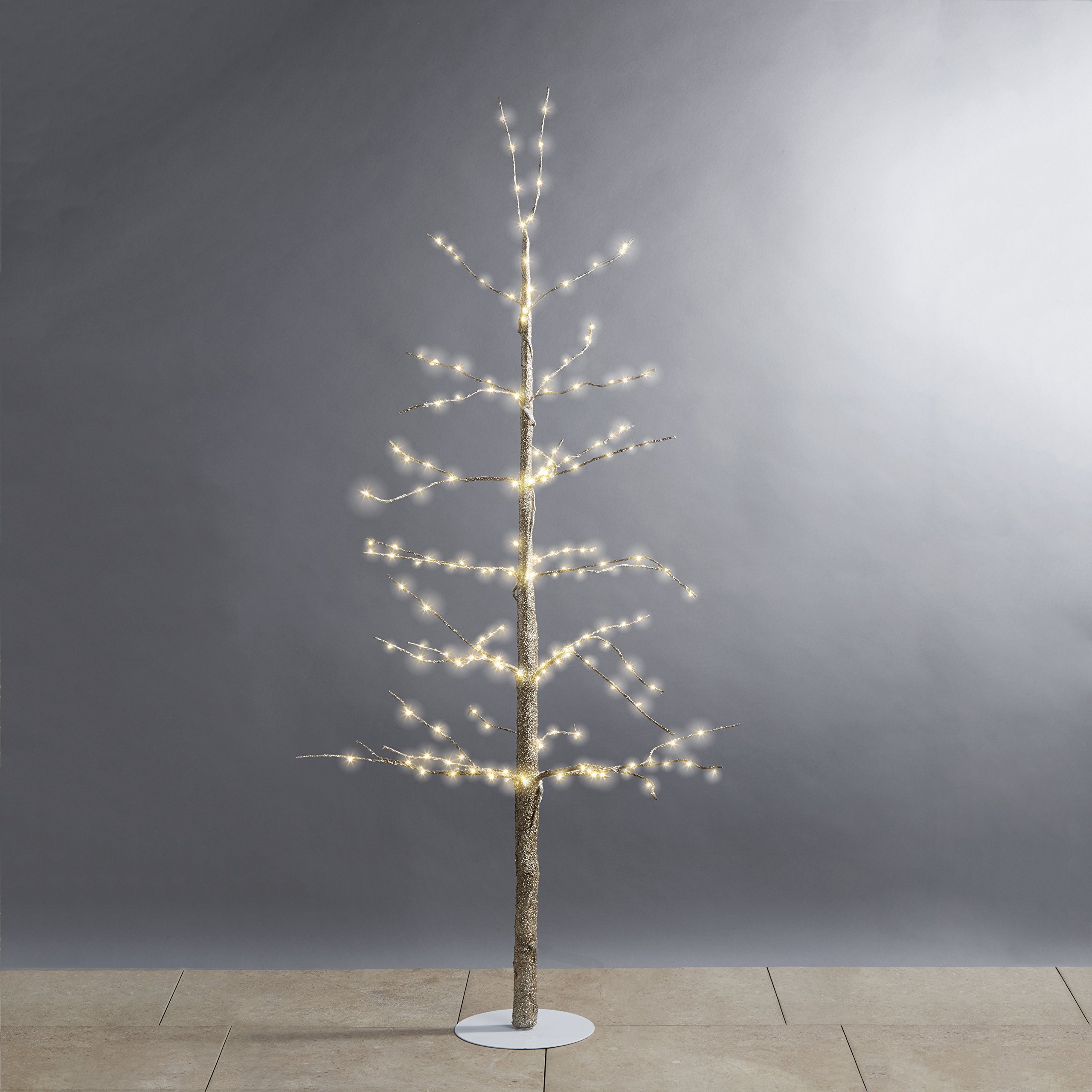 LampLust Pre-Lit Gold Christmas Tree - 4 Ft. Glitter Tree with 228 White LED Fairy Lights, Bendable Branches, Indoor Use, Plugin, Holiday Decor