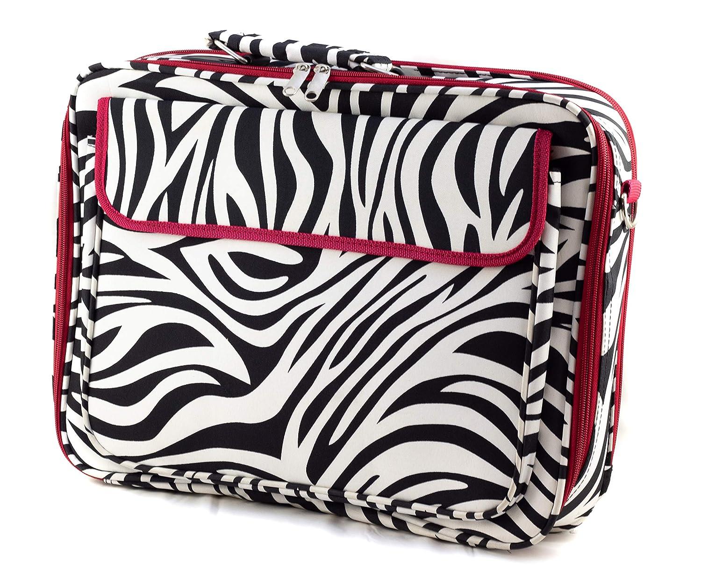 Uni Collections Laptop Case Zebra Print Red Trim