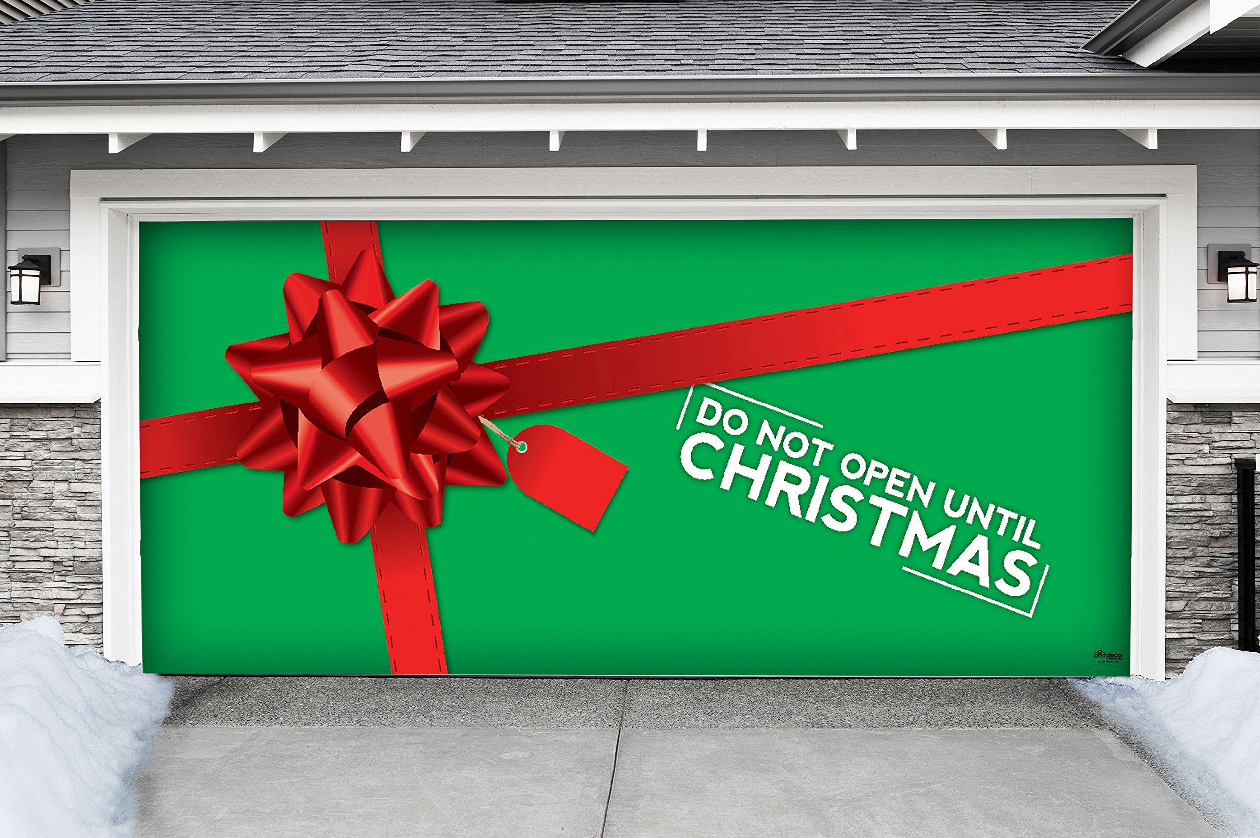 Outdoor Christmas Holiday Garage Door Banner Cover Mural Décoration - Don't Open Until Christmas Present - Outdoor Christmas Holiday Garage Door Banner Décor Sign 7'x16'