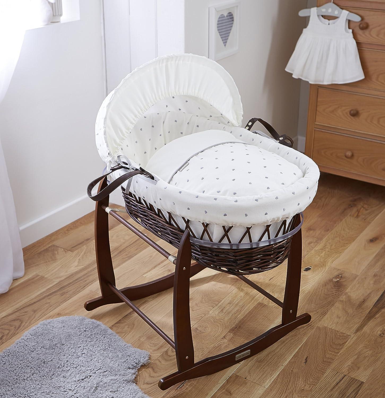 Clair de Lune Cuna corazones oscuro mimbre Moisés Basket inc. ropa de cama, colchón y capucha ajustable (marfil blanco/gris): Amazon.es: Bebé