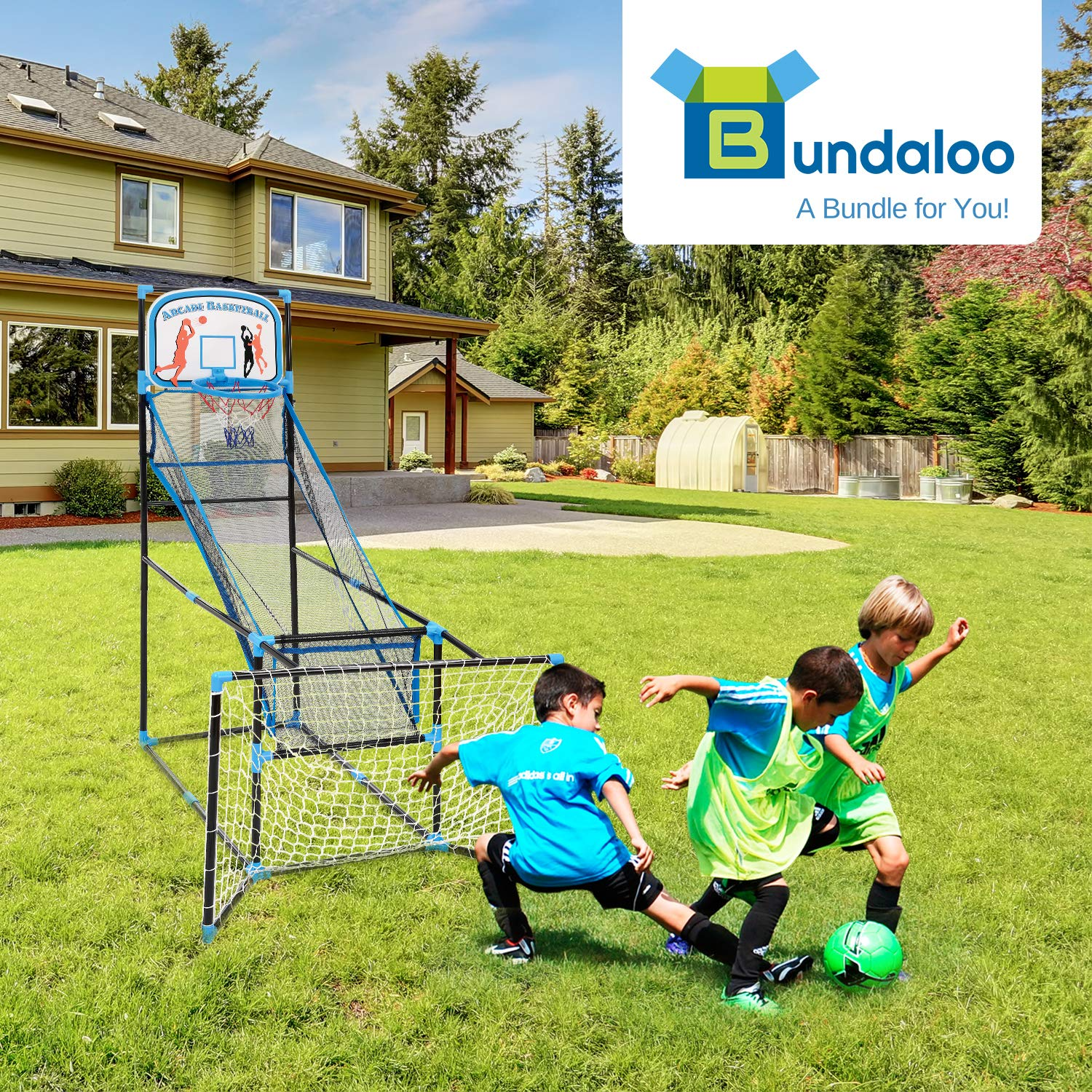 Bundaloo 3 in 1 Arcade Game | Basketball, Soccer, and Hockey Kids Toys | Fun Outdoor and Indoor Ball Games for Boys, Girls, Toddler | Includes 3 Balls, Backboard Hoop, Net Goal, Stick, and Air Pump by Bundaloo (Image #4)