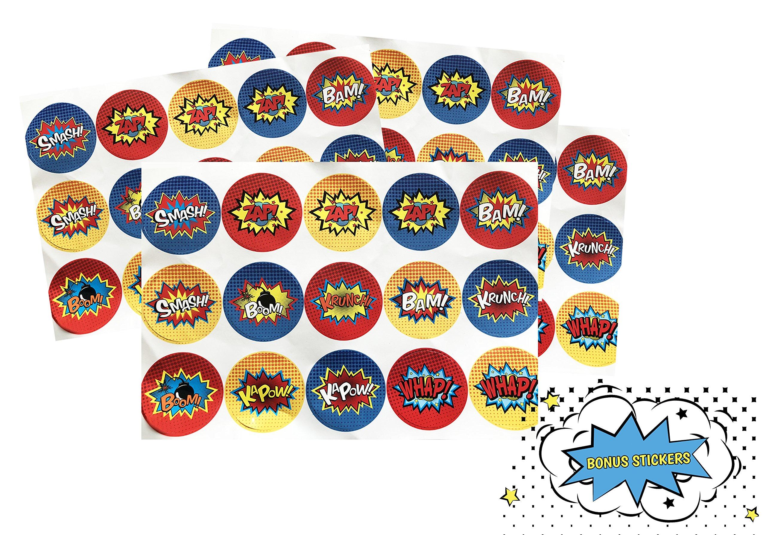 KAIIZAN Superhero Masks 33 Piece Plus 105 Stickers, Eye Masks, Birthday Supplies by KAIIZAN (Image #3)