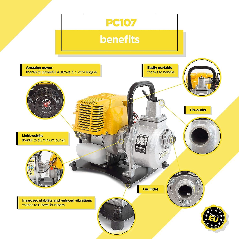 ✦ WASPPER PC107 ✦ Pompe /à eau robuste et portative avec un d/ébit de 7500 l//h ✦ Hauteur de refoulement de 35 m ✦ moteur /à essence de 9000 tr//min et accessoires inclus