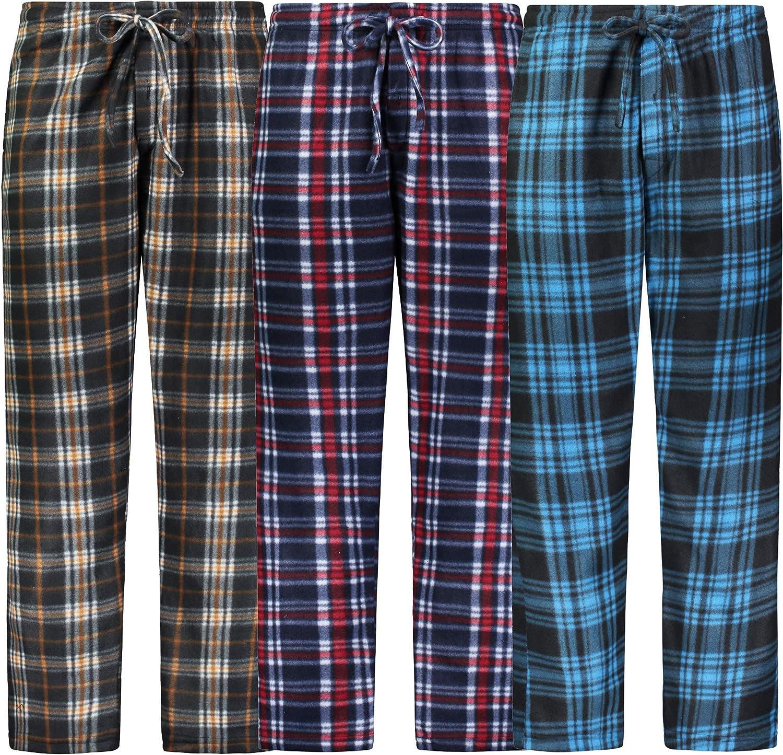 Bill Baileys Mens Pajama Pants 3 Pack Fleece Lounge Pants Sleep Pants Sleepwear with Pockets
