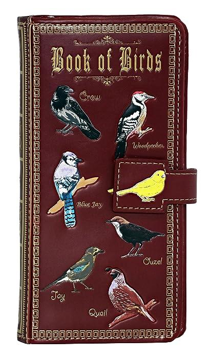 Shagwear Book of Birds Large Zipper Wallet, Red