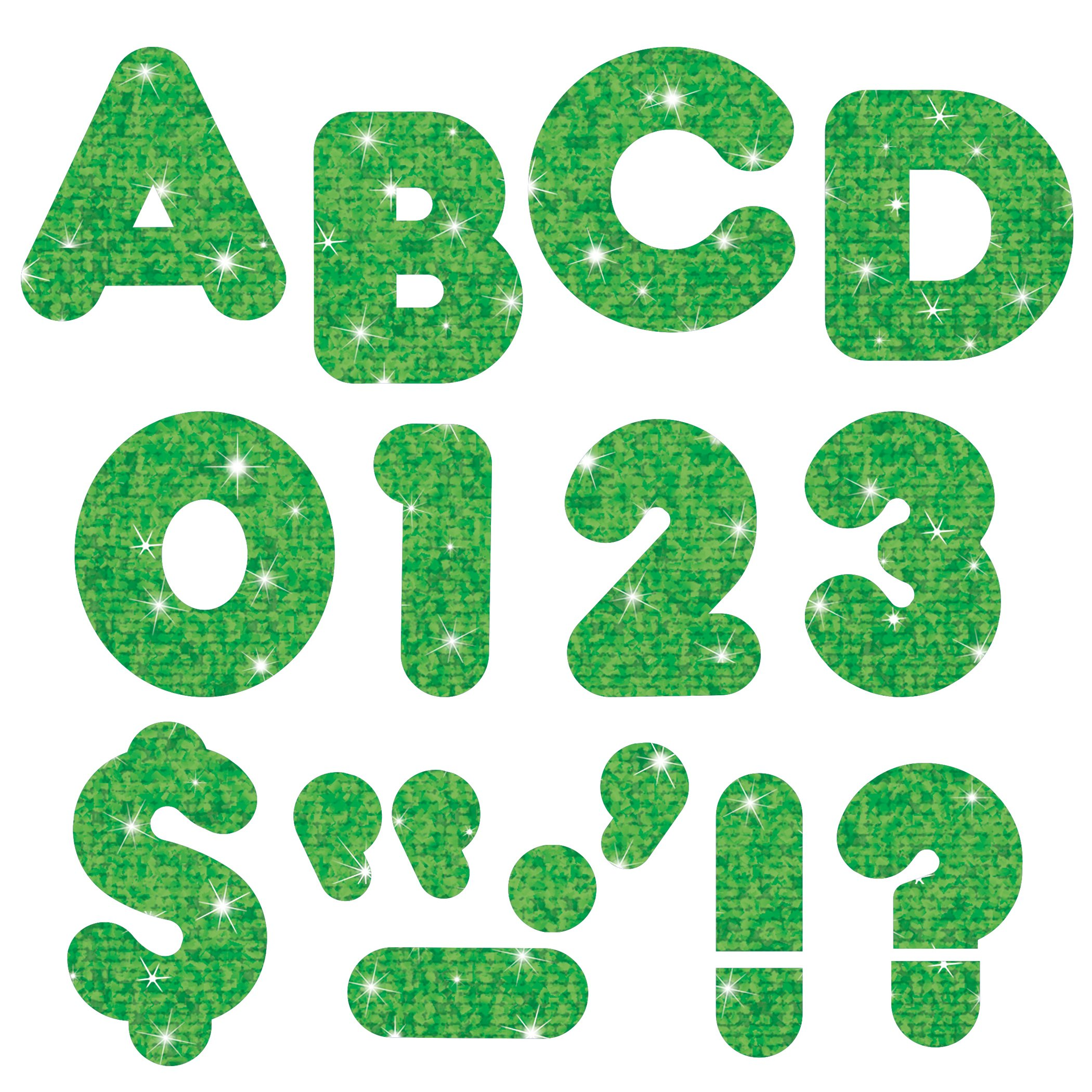 TREND enterprises, Inc. T-79011BN Green Sparkle 3'' Casual Uppercase Ready Letters, 6 Packs by TREND Enterprises