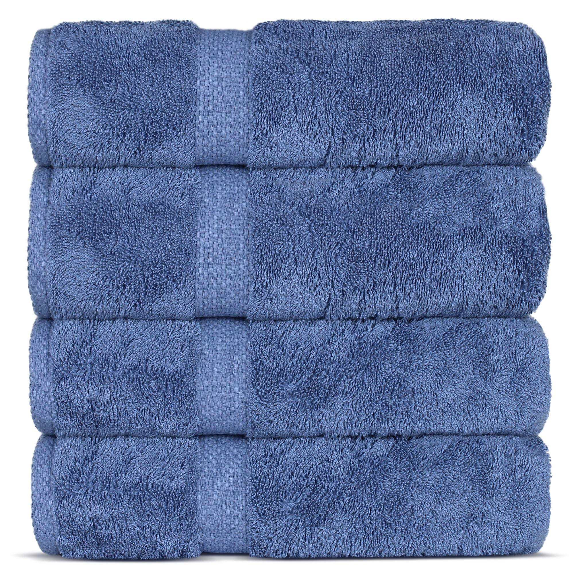 Indulge Linen Premium Turkish Cotton Bath Towels, Soft and Eco-Friendly, Set of 4 (Cornflower Blue)