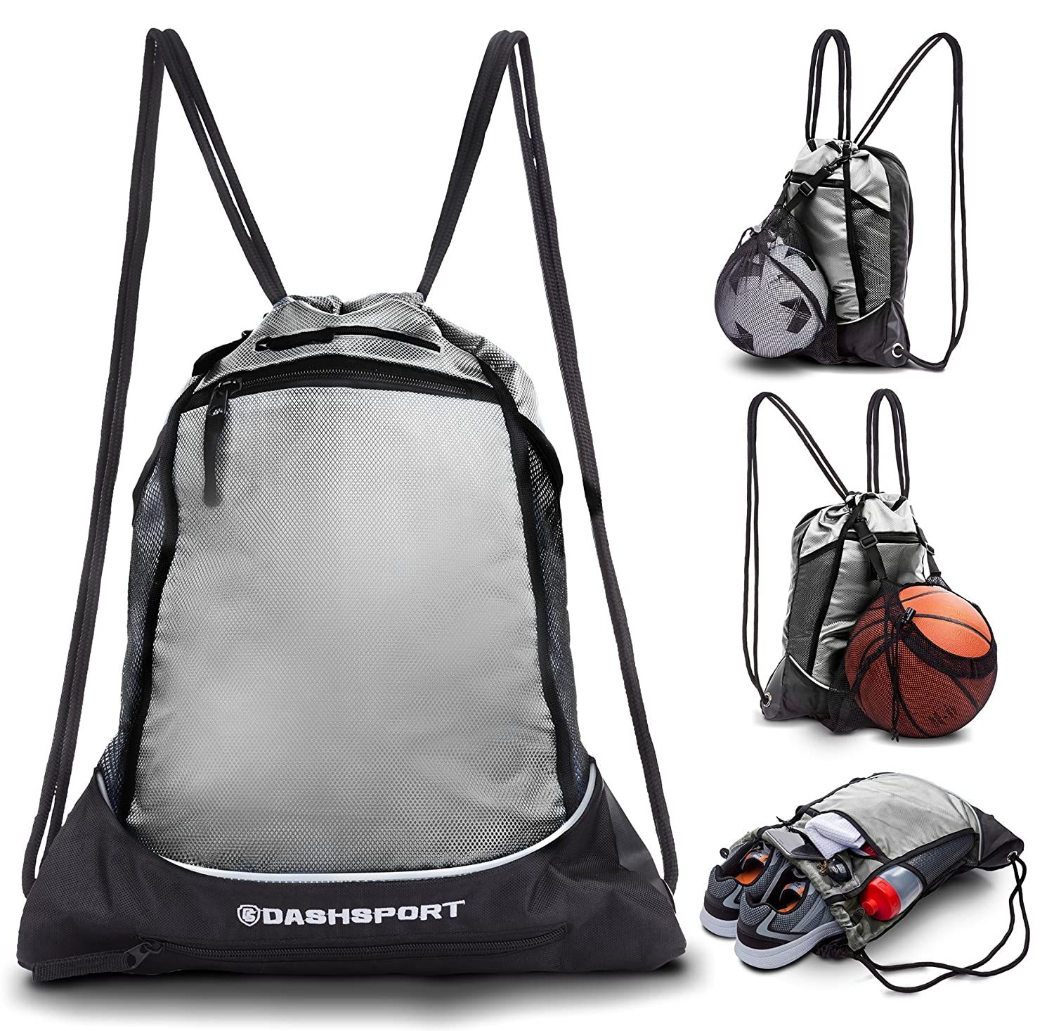 Drawstring Bag with Mesh Net - Perfect Sackpack with Ball Net for all Sports - Gym Bag for Men and Women, Tote Bag, Sports Sack, Light Backpack, Soccer Bag, Basketball, Volleyball, Baseball for Youth DashSport