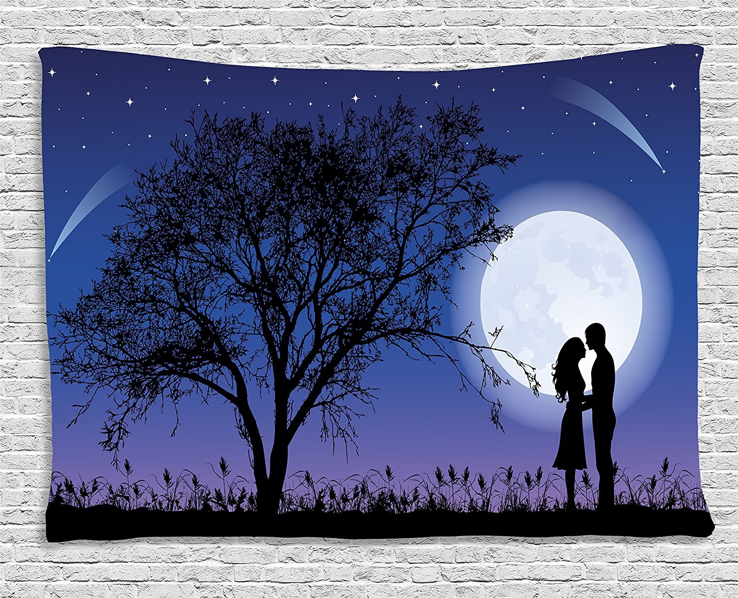 Night Tapestry, Romantic Composition with Full Moon Sky Tree Man and Woman In Love Hugging, Wall Hanging for Bedroom Living Room Dorm, 80 W X 60 L Inches, Black Blue White