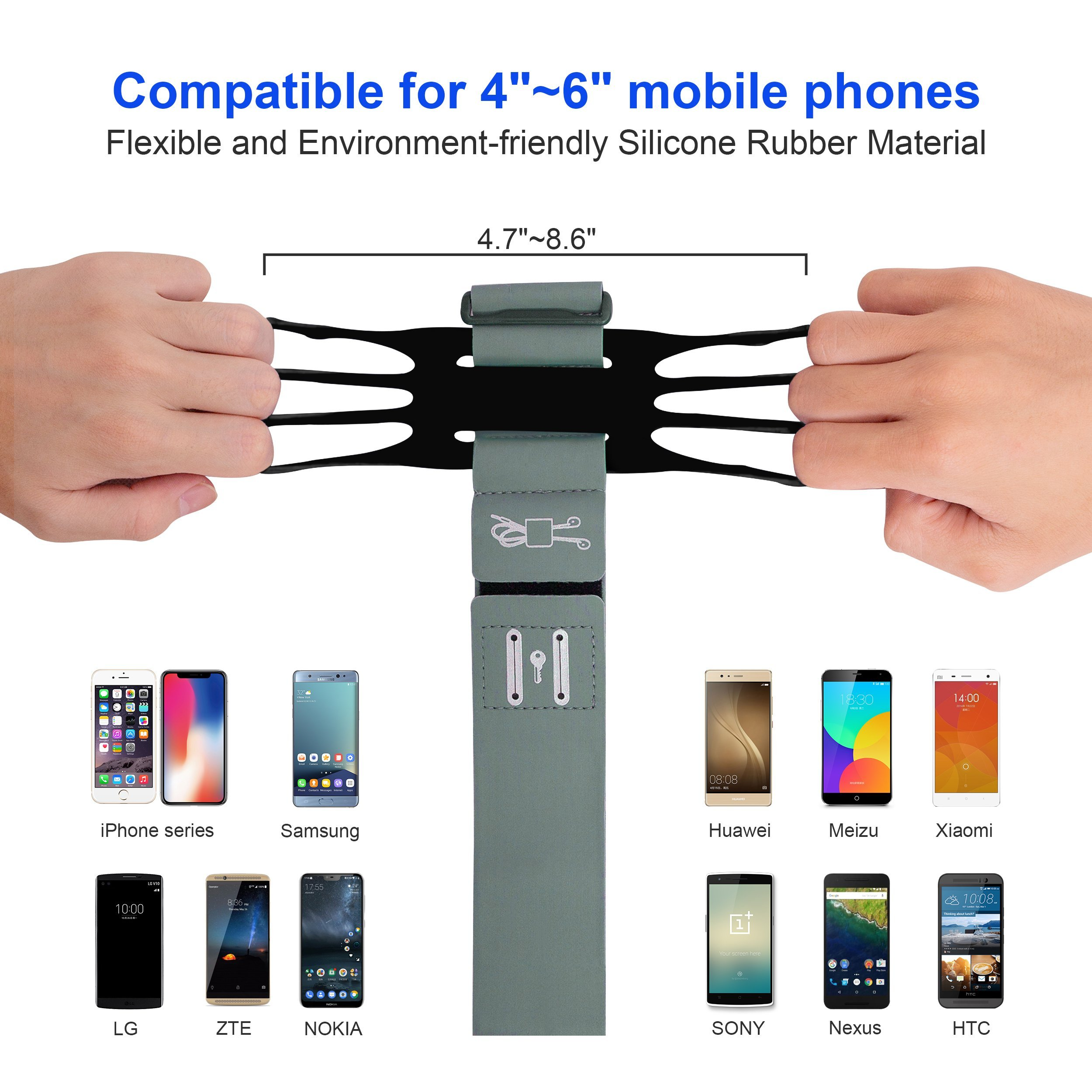 Running Armband for iPhone X/iPhone 8 Plus/ 8/7 Plus/ 6 Plus/ 6, Galaxy S8/ S8 Plus/ S7 Edge, Note 8 5, Google Pixel with Key Holder Phone Armband for Hiking Biking Walking Running(Black) by CICO (Image #2)