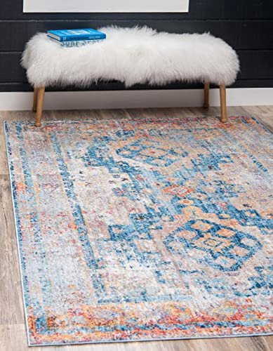 Unique Loom Basilica Collection Colorful Bohemian Traditional Vintage Blue Area Rug 8' 0 x 10' 0