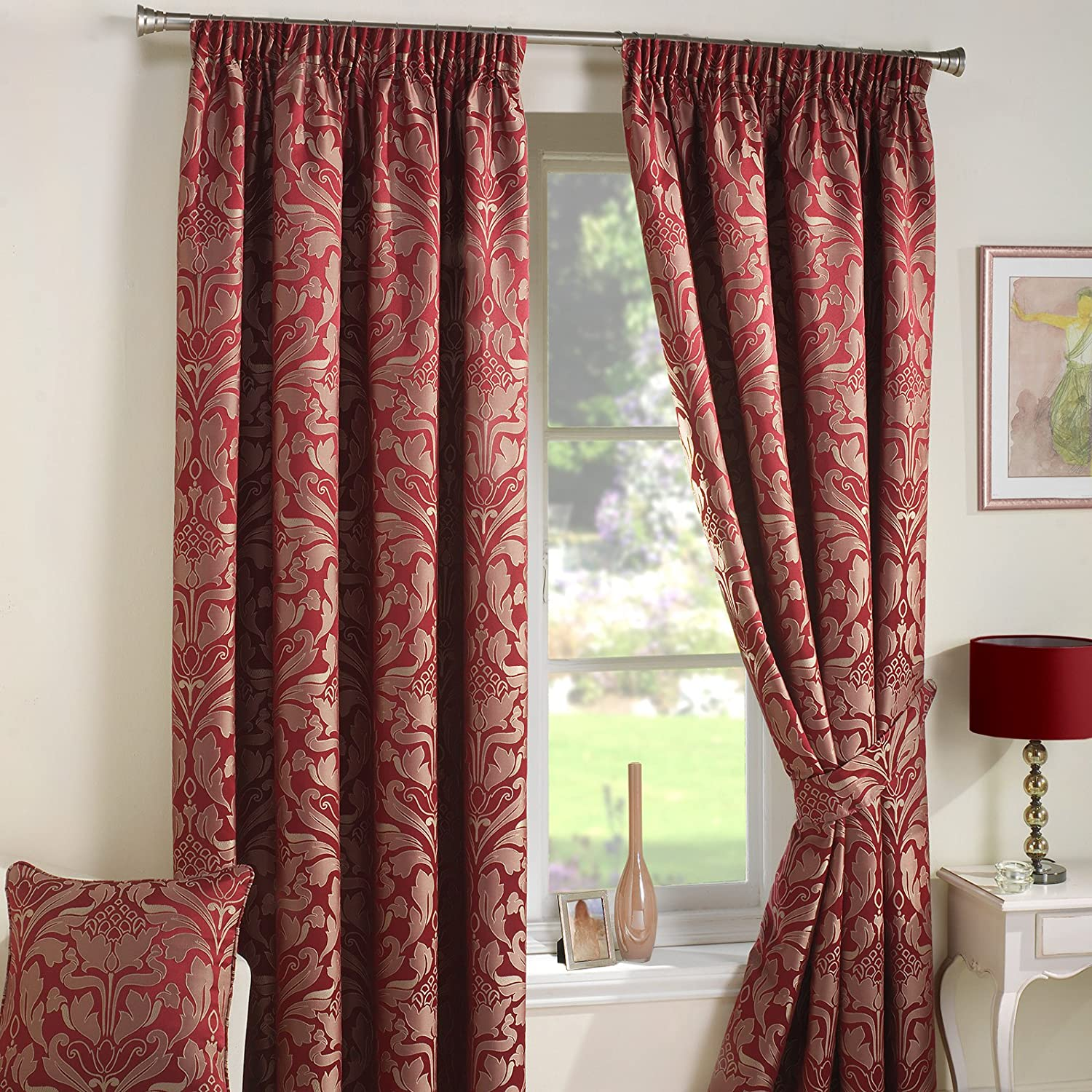 Just Contempo Luxury Curtain 9924, Cortinas (damasco, con ojales), Rojo, 66.04 cm (Pair of Curtain Tie Backs): Amazon.es: Hogar