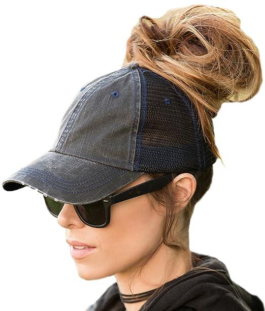 BOEKWEG Ponytail hat. Fashionable Hats Made for ponytails. (Distressed Black Mesh)   Amazon.ca  Clothing   Accessories 40eb7899650f