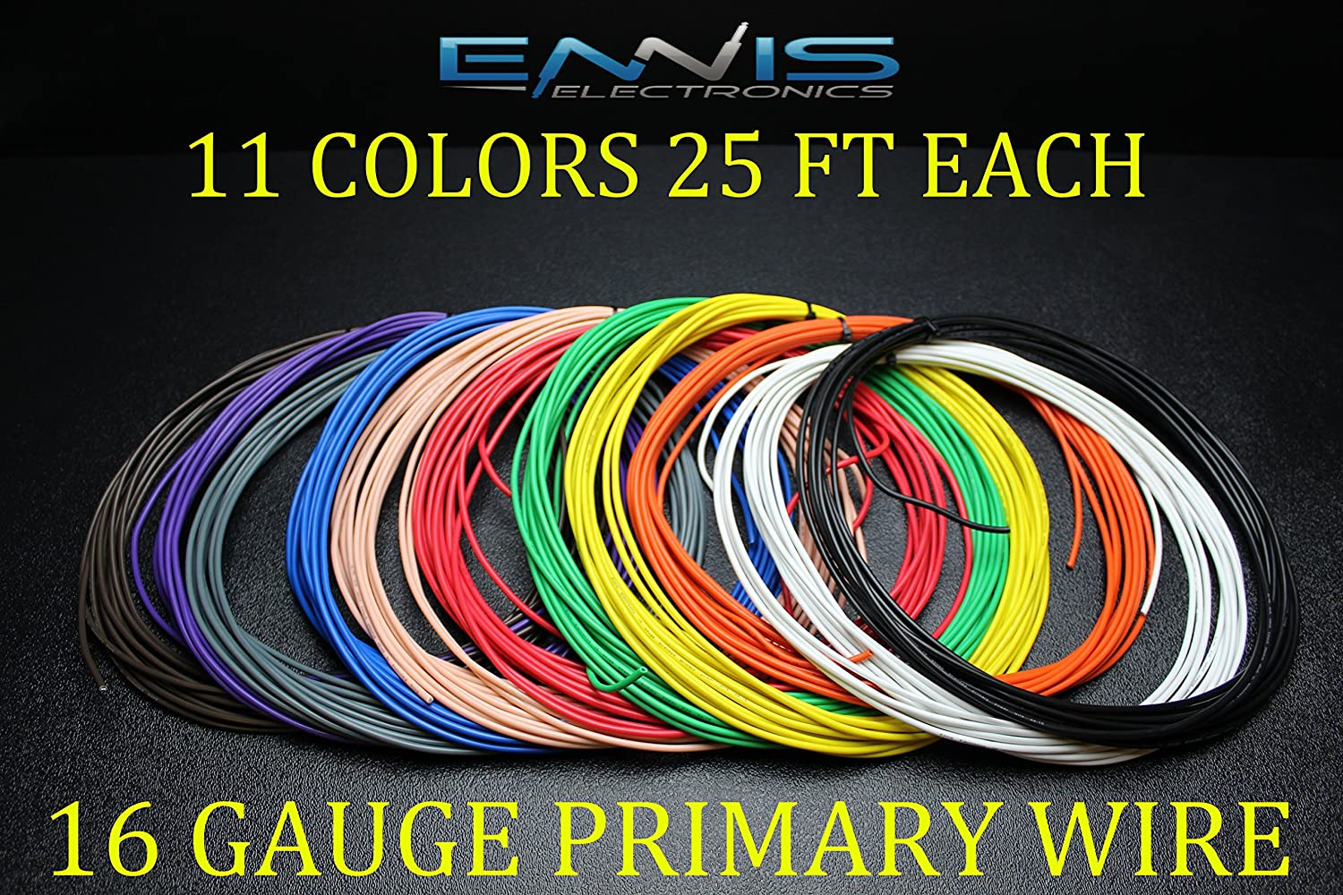 14 Gauge Wire ENNIS ELECTRONICS 25 FT RED 25 FT Black Primary Remote Hook UP AWG Copper CLAD