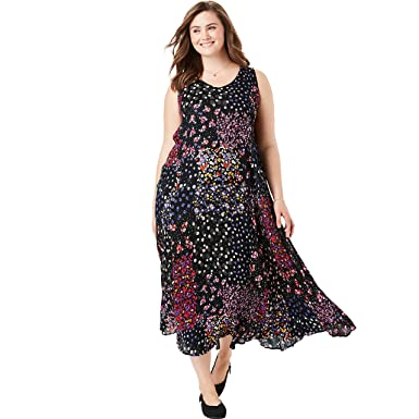 e035ed56a Woman Within Women's Plus Size Petite Sleeveless Crinkle A-Line Dress -  Black Ditsy Patchwork