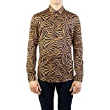 Versace Collection Men's Cotton Swirl Print Dress Shirt Brown/Black