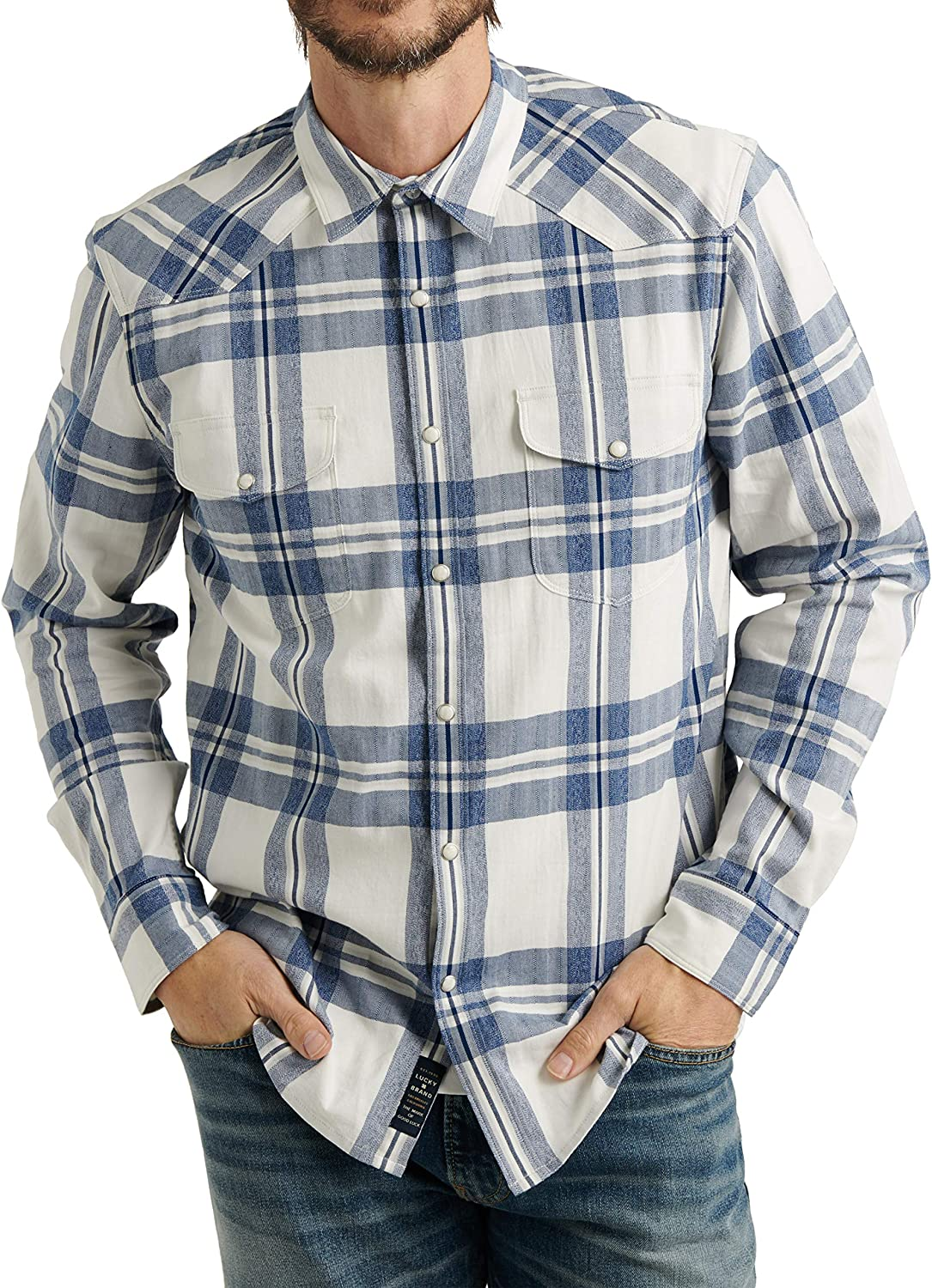 1920s Men's Dress Shirts, Casual Shirts Lucky Brand Mens Long Sleeve Button Up Two Pocket Santa Fe Western Shirt $33.16 AT vintagedancer.com