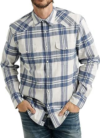Lucky Brand Men's Long Sleeve Button Up Two Pocket Santa Fe Western Shirt