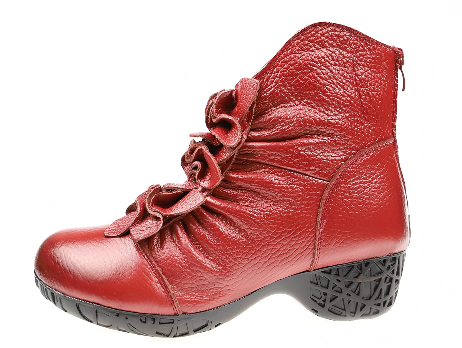 Bigwanbig Women Fashionable Casual Retro Lace Leather Round Toe Warm Heel Ankle Boots (and Fur-Lined)