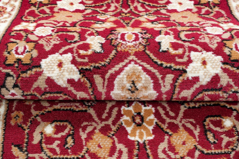 Tapiso Scarlet Teppich L/äufer Flur Br/ücke Kurzflor Klassisch Rot Beige Floral Ornament Design Wohnzimmer K/üche Teppichl/äufer 70 x 100 cm
