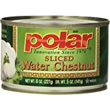 MW Polar Canned Vegetables, Water Chestnuts, Sliced, 8-Ounce (Pack of 12)