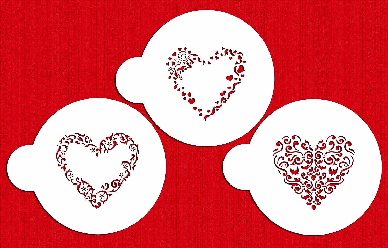 Uncategorized Valentine Stencils amazon com designer stencils c202 swirl valentine heart cookie beigesemi transparent food decorating kitchen