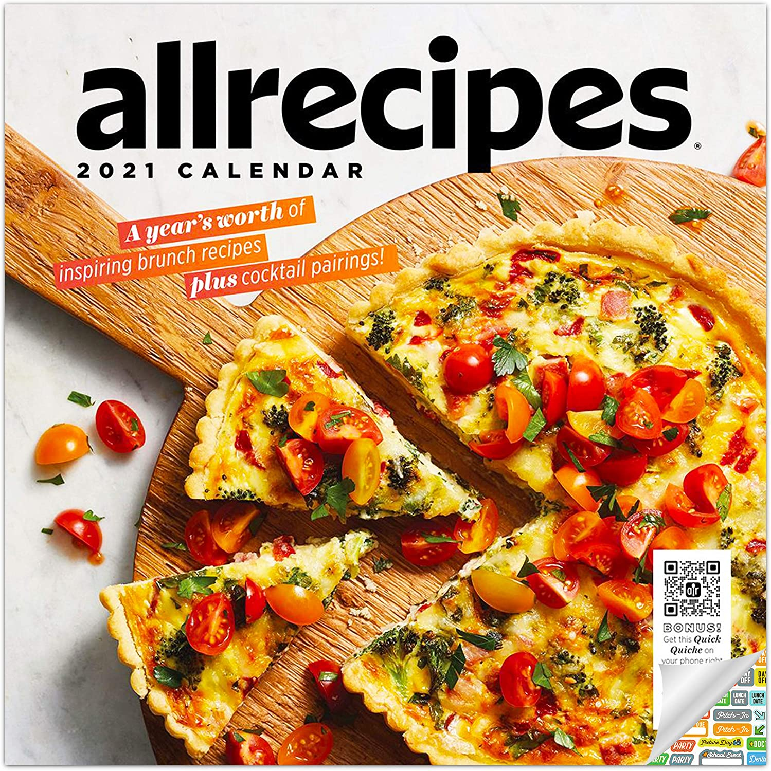 All recopies - Brunch Recipes Calendar 2021 Bundle - Deluxe 2021 Cooking Wall Calendar with Over 100 Calendar Stickers (Cooking Gifts, Office Supplies)
