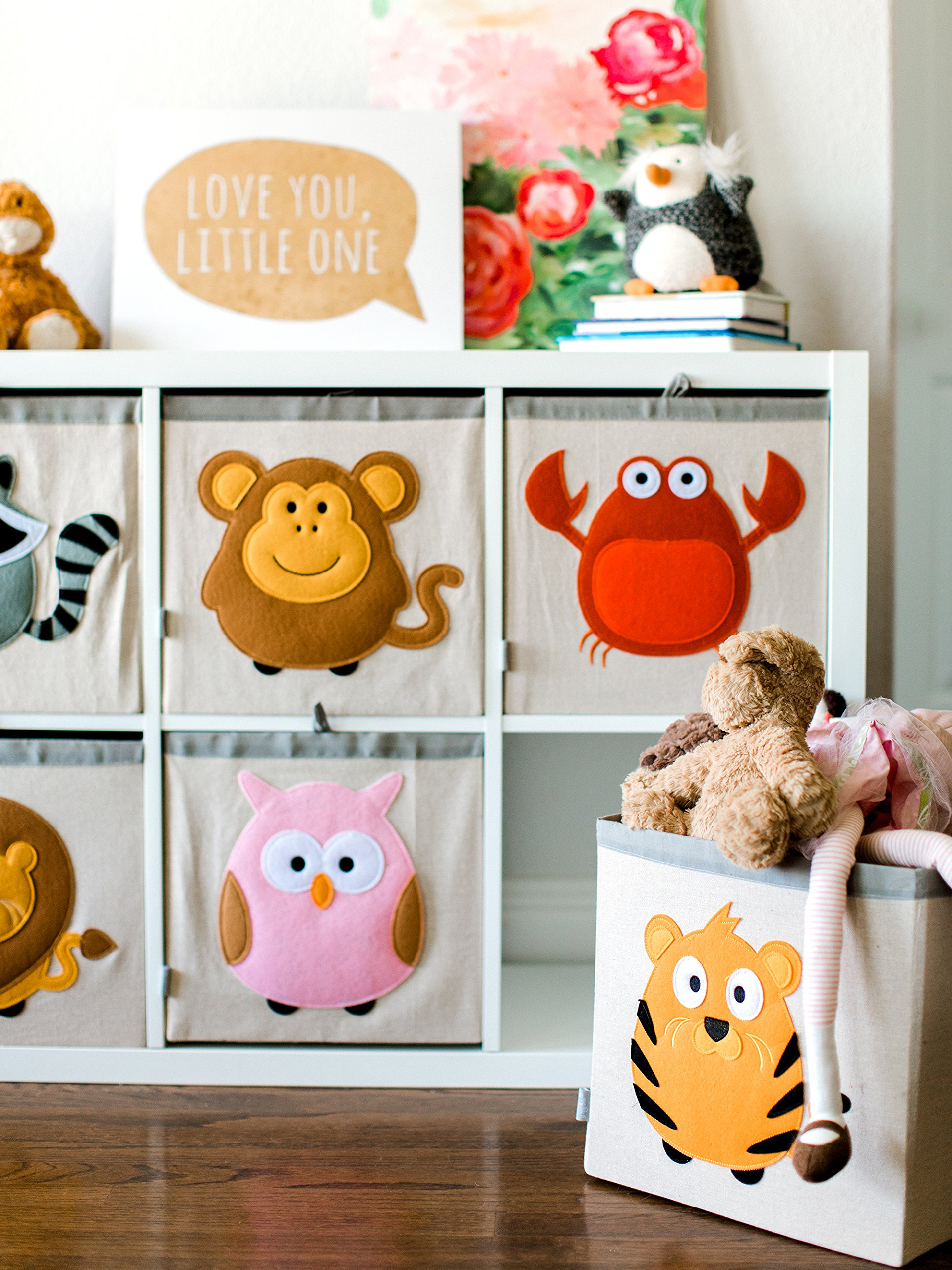 Large Collapsible Cube Storage Bin :: 100% Jute Canvas Toy Basket for Baby Items, Kids' Clothes & Much More, 13'' x 13'' Square, with Adorable Felt Animal Design, Monkey, Brown by Grey Bee by Grey Bee (Image #2)