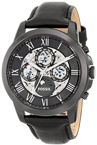 Fossil Men s Grant ME3028 Black Leather Japanese Automatic Fashion Watch 7f4e5989d53