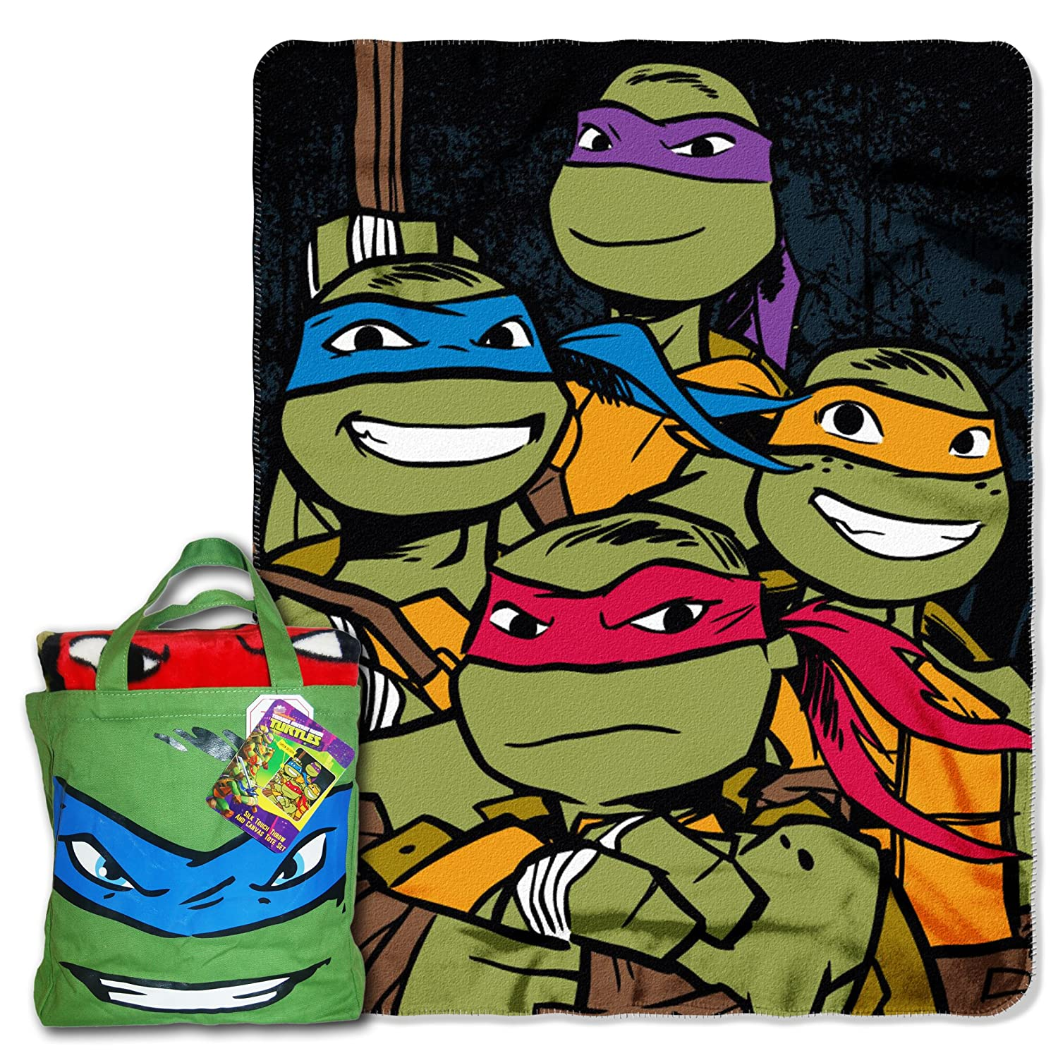 """Nickelodeon's Teenage Mutant Ninja Turtles, """"Turtle Fighters"""" Silk Touch Throw with Reusable Canvas Tote Set, Multi Color"""