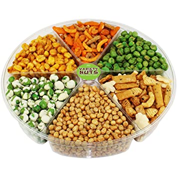 Premium Gourmet Nuts & Peas Assorted Gift Basket, Large Tray Fresh and  Roasted