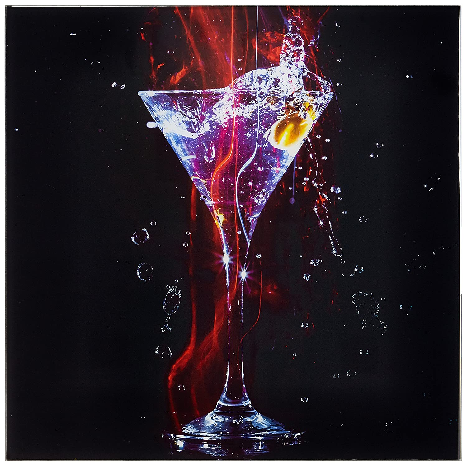 Pro-Art-immagini gamma gla1403  a Cocktail on Black I vetro Art, multicolore, 30  x 30  x 1,30  cm 30 x 30 x 1 30 cm Pro-Art-Bilderpalette (PRPQU) gla1403a