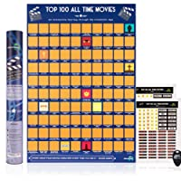Atlas&Green Scratch Off Movie Poster - Top 100 All Time Movies + BONUS Stickers, scratching pick and Gift Tube - Rate each Film and customize your poster