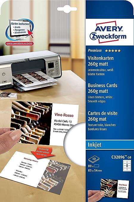 Avery C32096-10 80pieza(s) tarjeta de visita - Tarjetas de visita (85 mm, 54 mm, 10 hojas, 80 pieza(s))