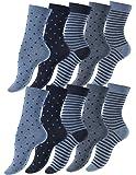 """Lot de 10 paires de dames chaussettes et filles chaussettes """"Dots and Stripes"""" en coton - parsemaient et rayé"""