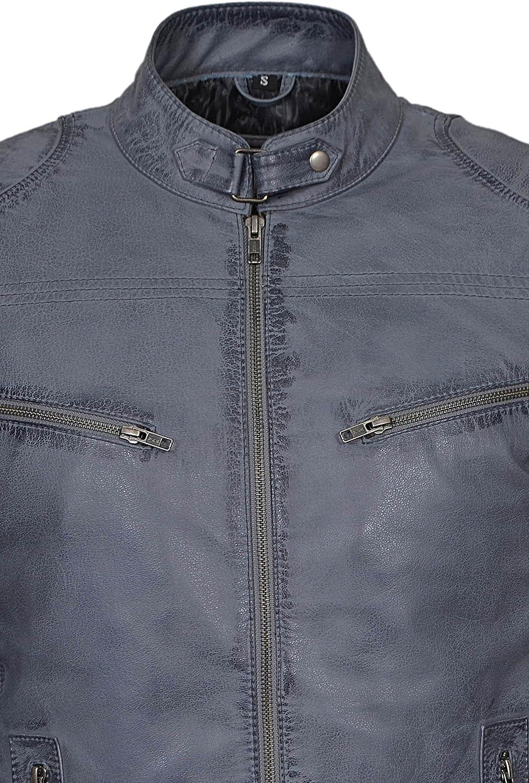Smart Range Mens Speed Washed Grey Stone Biker Style Motorcycle Real Leather Jacket