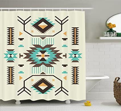 Ambesonne Southwestern Shower Curtain Ethnic Pattern Design From Ancient Aztec Culture With Indigenous Zigzag Motifs