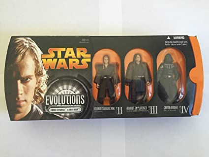 Amazon Com Star Wars Episode Iii Revenge Of The Sith Evolutions Anakin Skywalker To Darth Vader Action Figure Multi Pack Toys Games