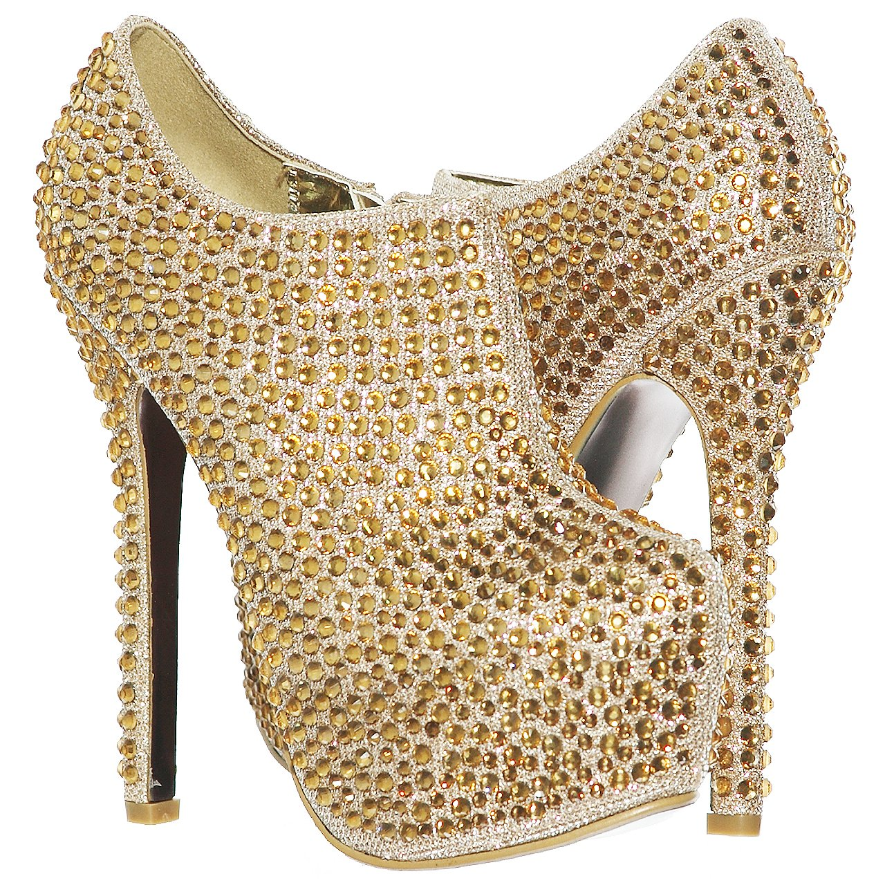 shoewhatever Womens Almond Toe Rhinestone Studded Stiletto High Heels Ankle Platform Pumps