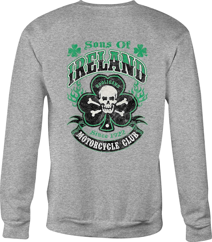 Crewneck Sweatshirt Sons of Ireland Club Hooligans Skull Lucky Clover