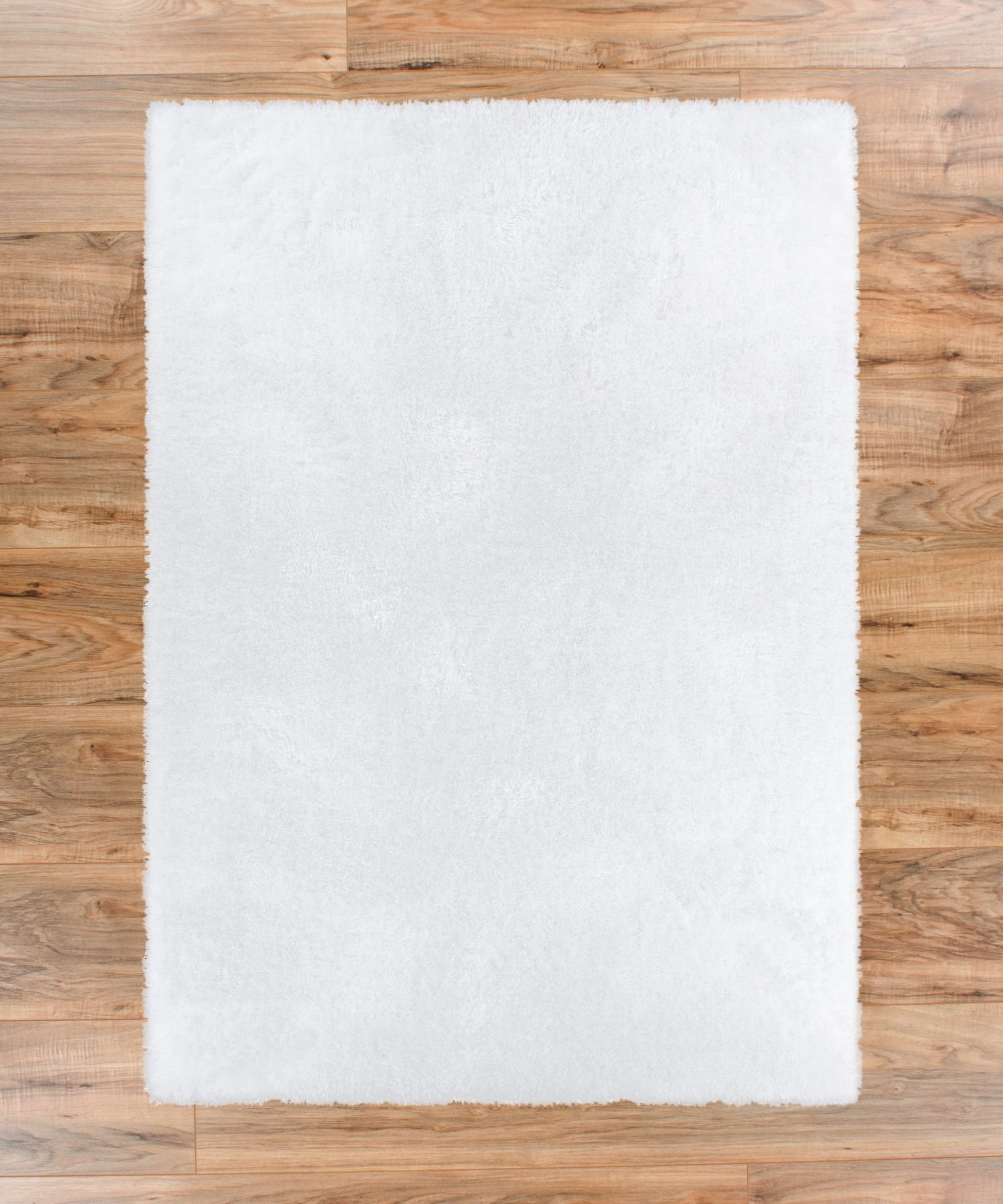 Shimmer Shag Snow White Solid Plain Modern Luster Ultra Thick Soft Plush Area Rug 7 x 10 ( 6'7'' x 9'10'' ) Contemporary Retro Polyester Textured 2'' Pile Yarn Easy Clean Stain Fade Resistant by Well Woven (Image #3)