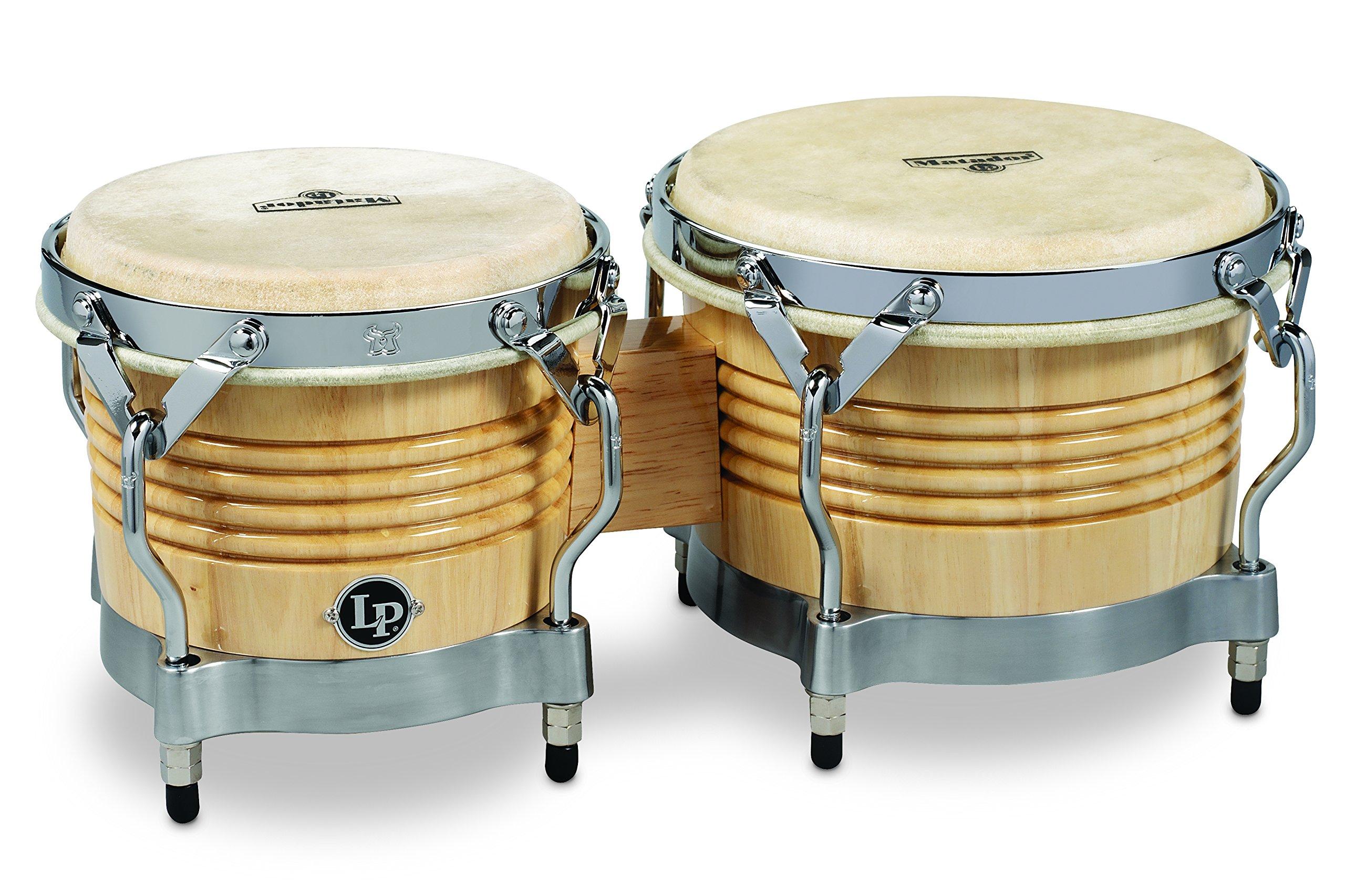 Latin Percussion M201-AWC LP Matador Wood Bongos - Natural/Chrome