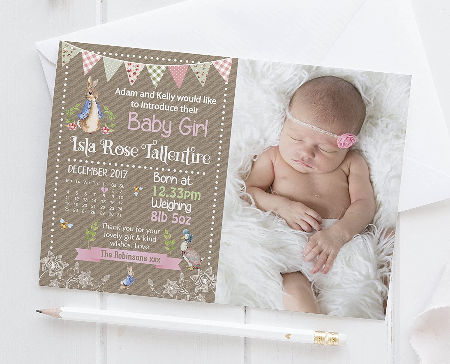 Unsex Personalised Baby//Toddler Blanket Girl Birth Announcement Boy